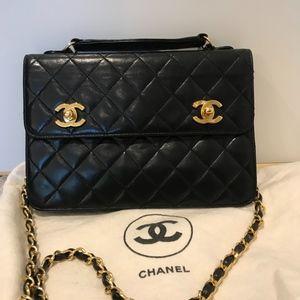 Rare Vintage Chanel Double Turnlock Handbag
